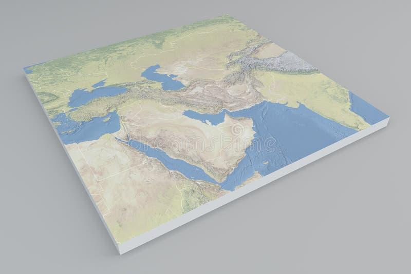 中东,卫星看法,分裂, 3d,地图 皇族释放例证