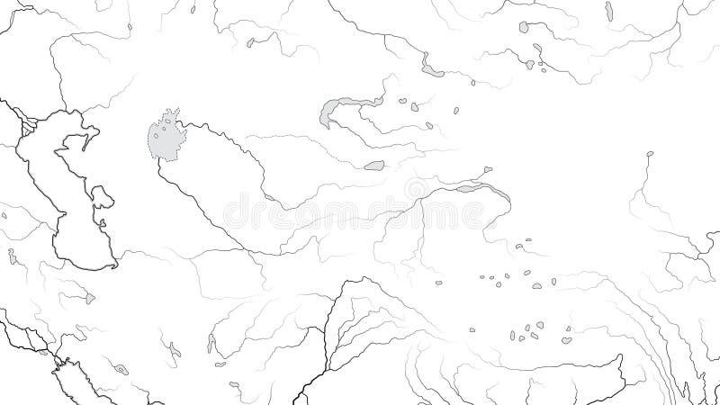 中亚地区亚洲内部世界地图:哈萨克斯坦,土耳其斯坦,阿富汗 地理图 库存例证
