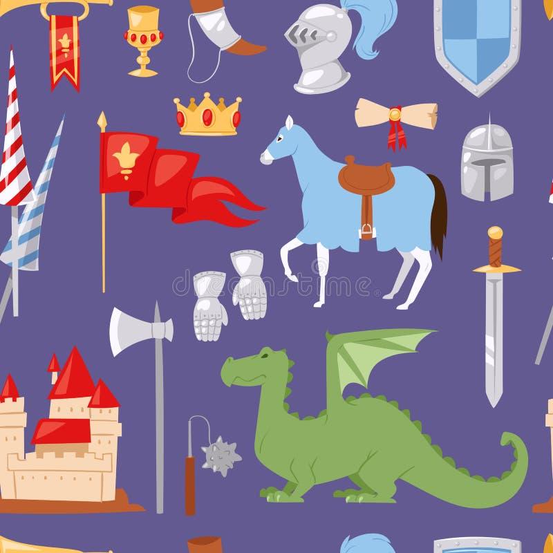 中古中世纪骑士纹章学皇家冠元素葡萄酒骑士精神城堡传染媒介无缝的样式背景 皇族释放例证