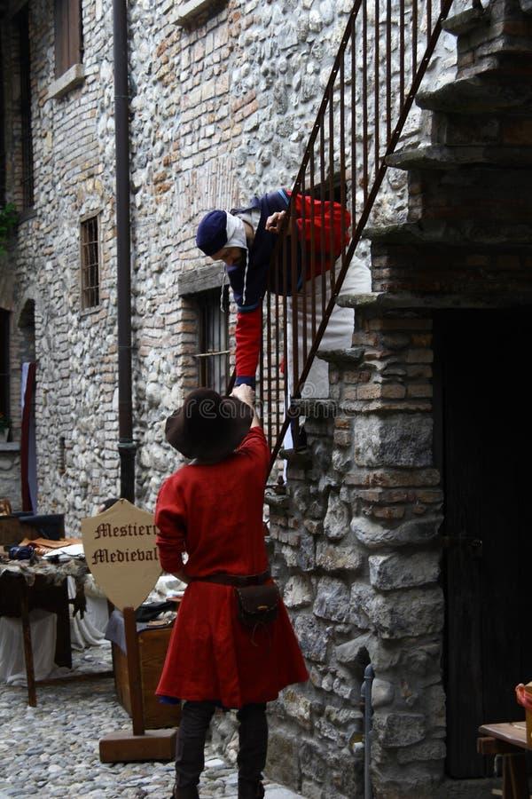 中古在Erba中世纪市场-区上Villincino星期天, 2018年5月13日 免版税图库摄影