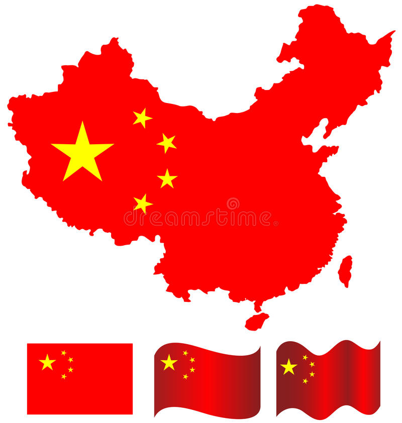 中国中国的地图和旗子 库存例证