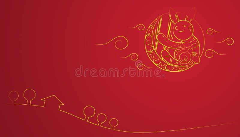 中国中间秋天节日黄色月亮兔子红色背景 免版税库存照片