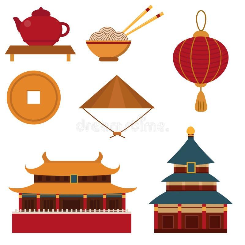 中国亚洲东方装饰观光的节日金古老传统文化传染媒介例证 向量例证