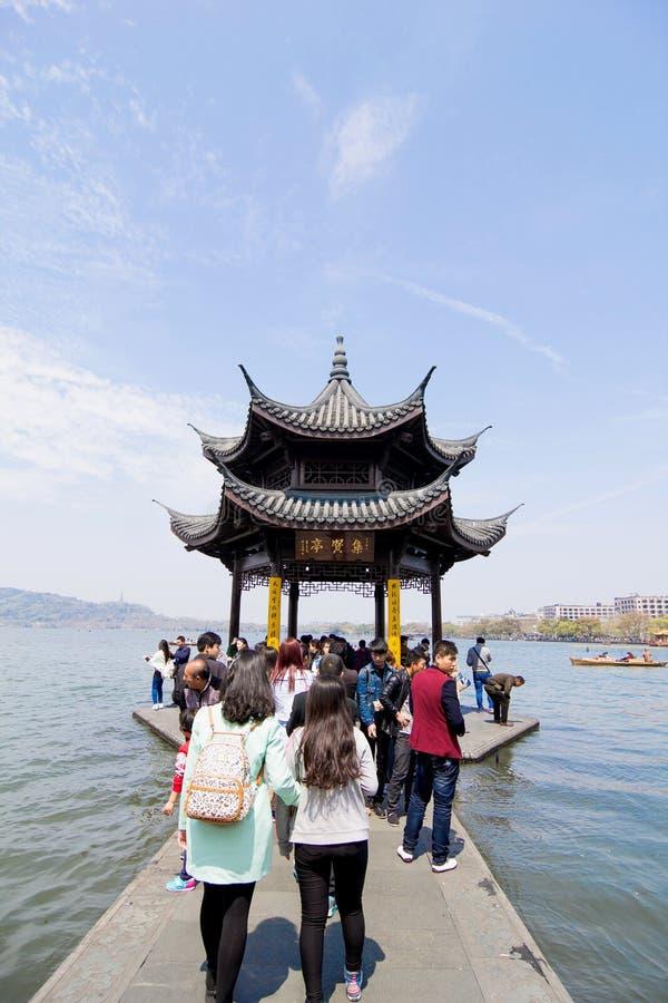 中国亭子在杭州 免版税库存图片
