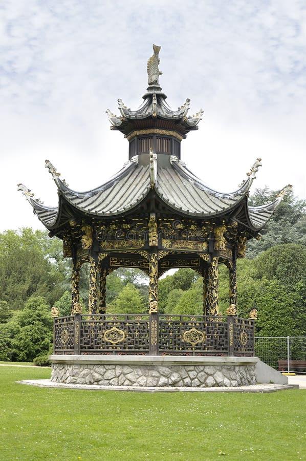 中国亭子,布鲁塞尔,比利时 免版税库存照片