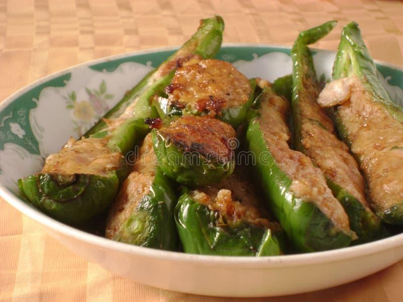 中国人胡椒粉原料用肉末 免版税图库摄影