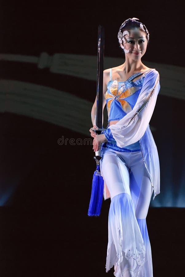 中国人舞蹈组兰花剑 图库摄影