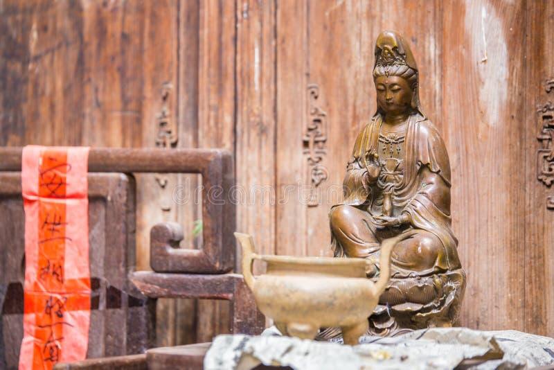 中国人菩萨雕象在李坑中国 免版税库存图片