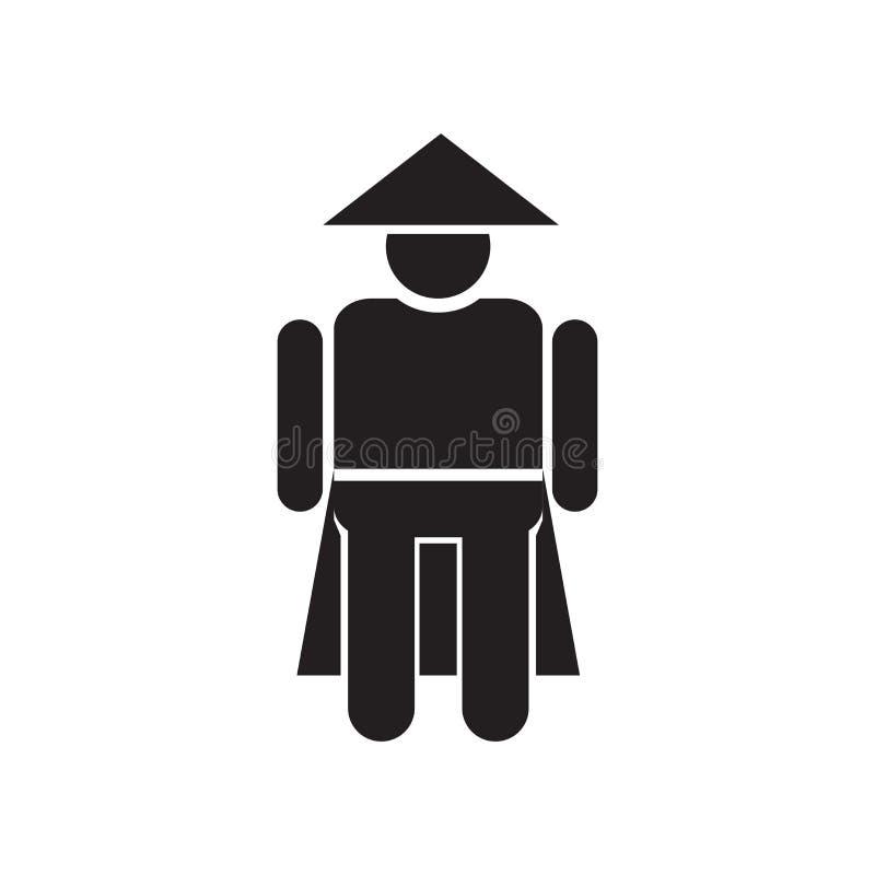中国人象在白色背景隔绝的传染媒介标志和标志,中国人商标概念 库存例证
