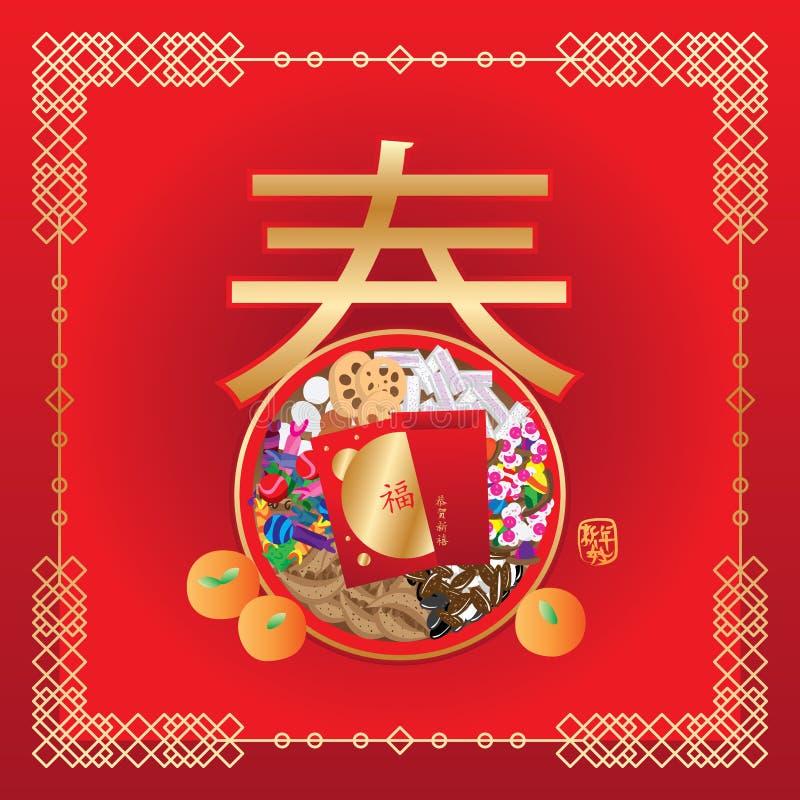 中国人8食物傅春天 向量例证