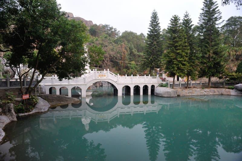 中国人Jiuhoushan七曲拱桥梁 免版税图库摄影