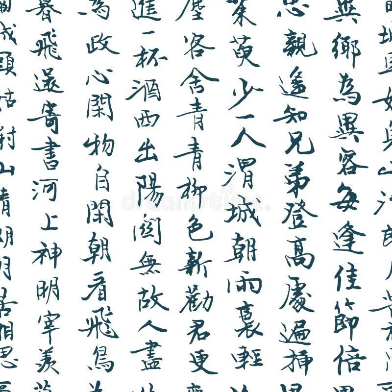 中国传统书法无缝的样式 亚洲象形文字标志背景 皇族释放例证