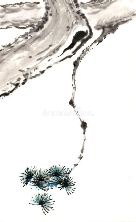 中国传统卓越的华美的装饰手画墨水杉木树 库存图片