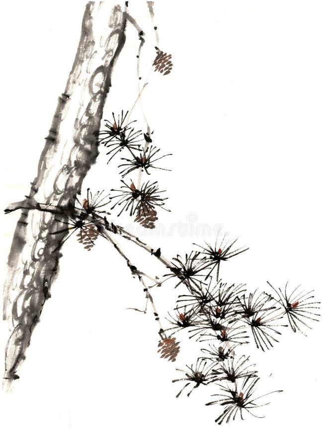 中国传统卓越的华美的装饰手画墨水杉木树 免版税库存图片