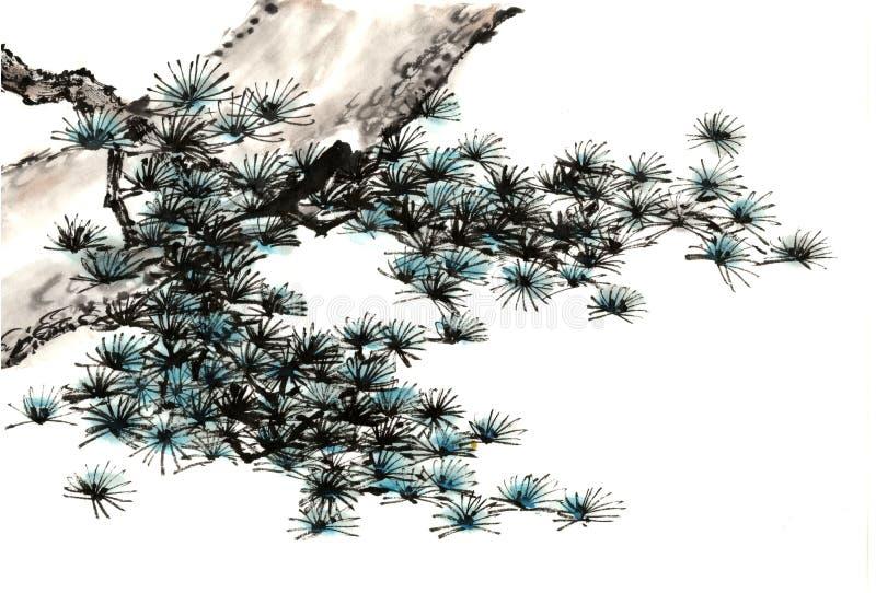中国传统卓越的华美的装饰手画墨水杉木树 库存照片