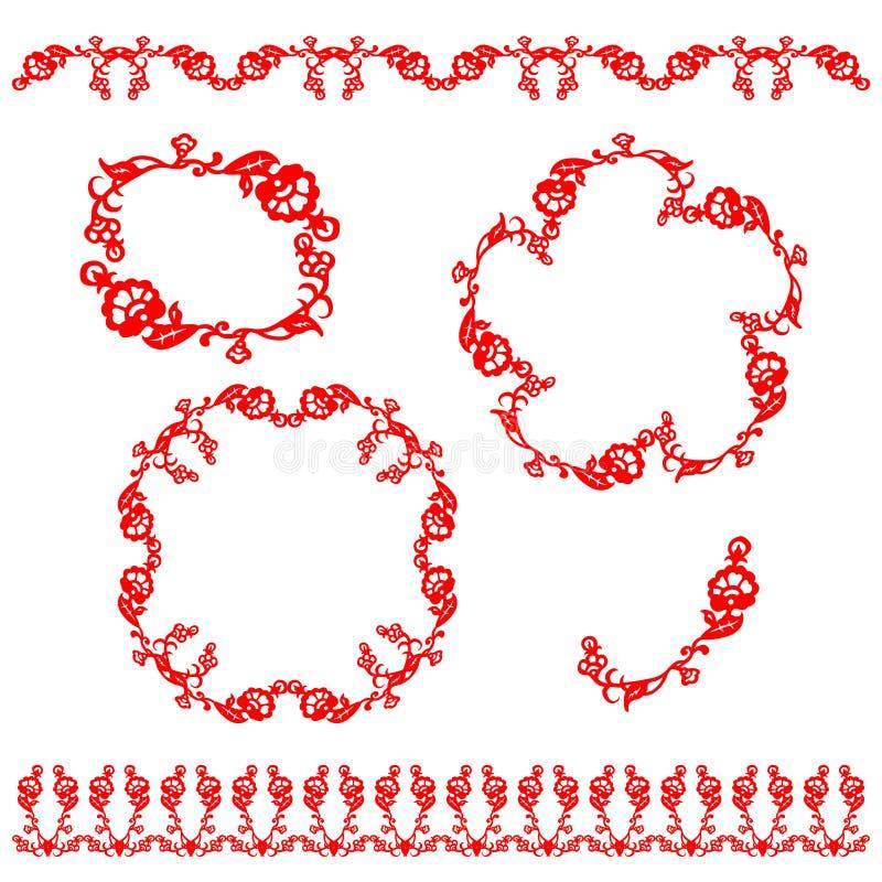 中国传统花饰 向量例证
