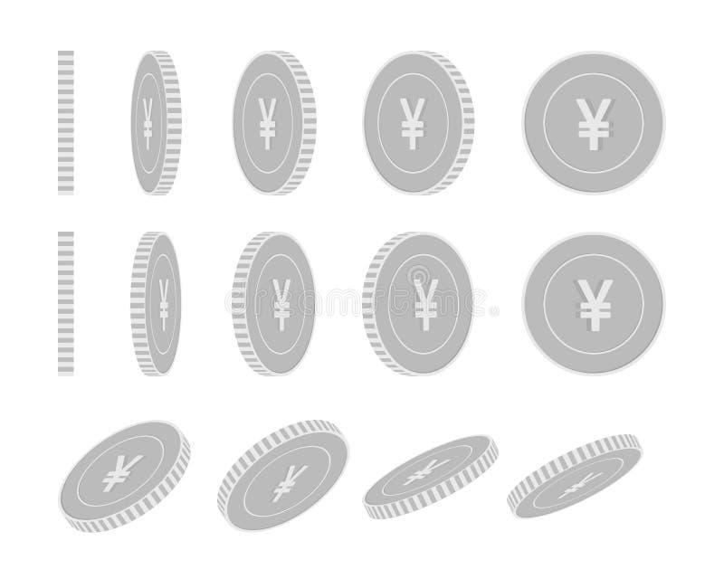 中国元转动的硬币集合,准备好的动画 向量例证