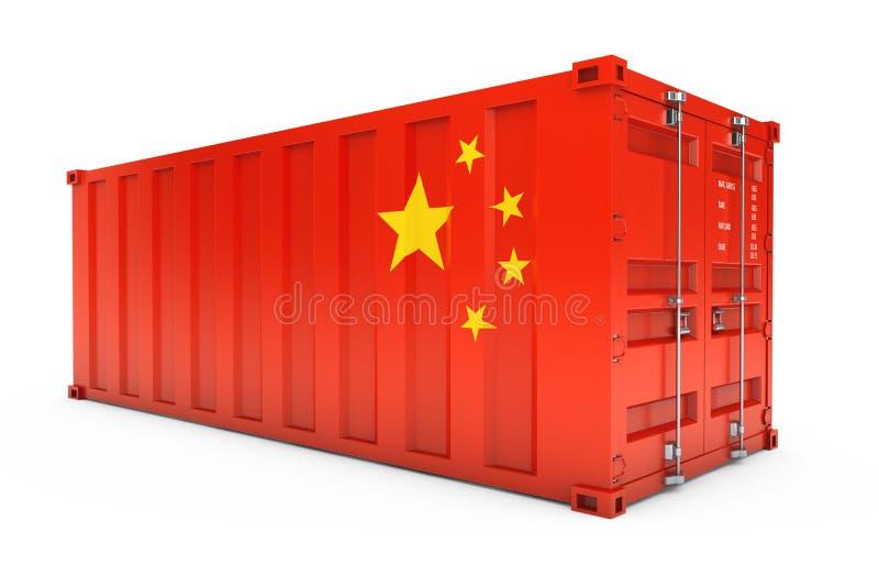 中国出口概念 有中国旗子的运输货柜 3d ren 皇族释放例证