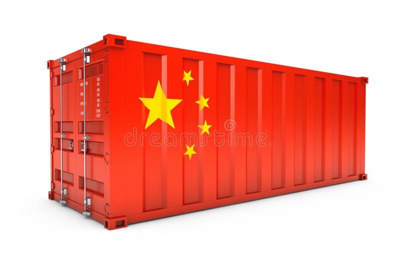 中国出口概念 有中国旗子的运输货柜 3d ren 向量例证
