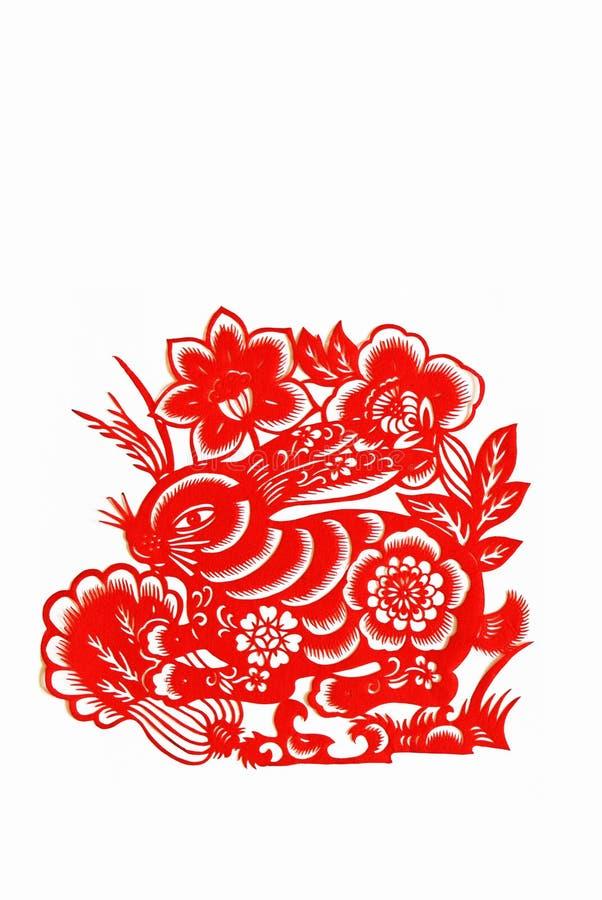 中国剪切野兔裱糊黄道带 库存图片