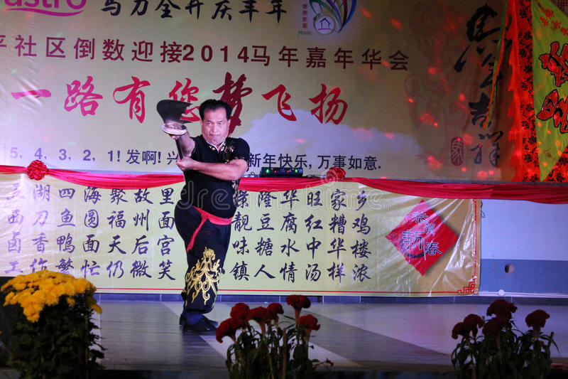中国功夫长的刀子表现 库存图片