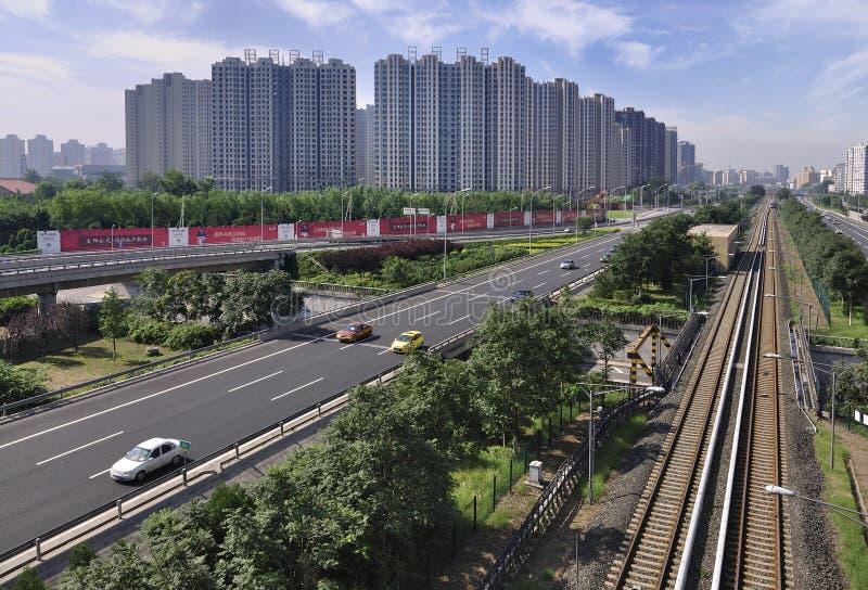 中国北京城市道路和高速公路 图库摄影