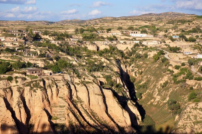 中国北部的黄土高原 免版税库存照片