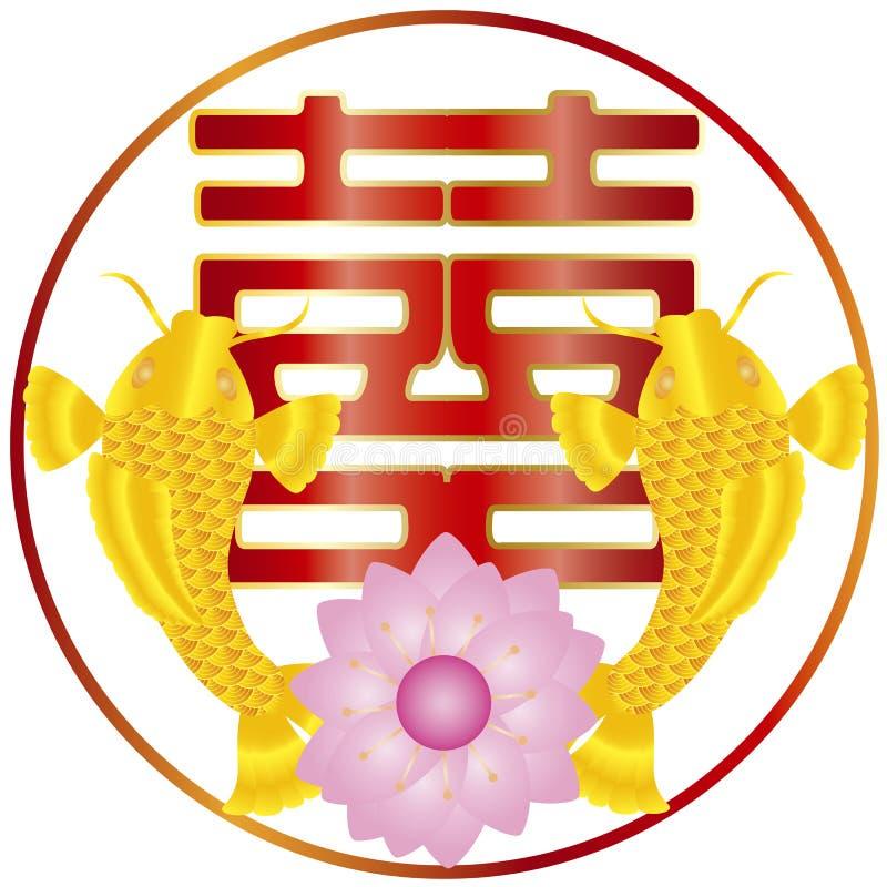 中国双幸福文本和金鱼对 库存例证