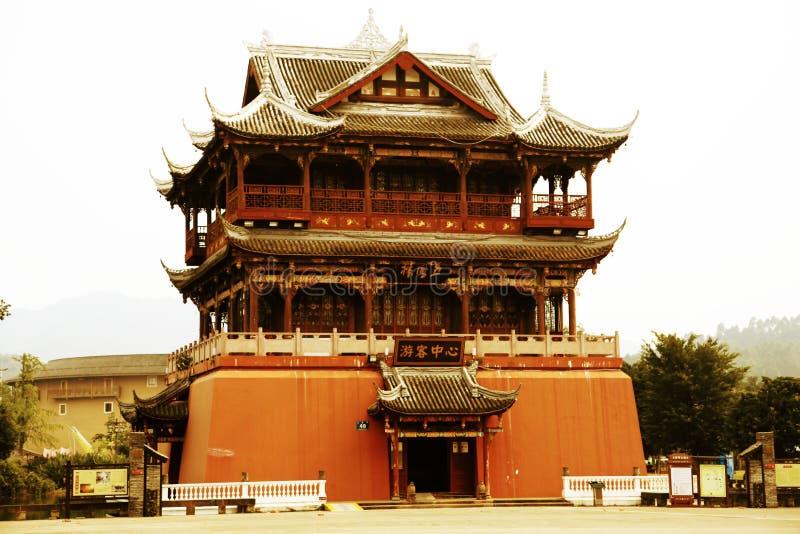 中国古老村庄,洛带古镇 库存图片