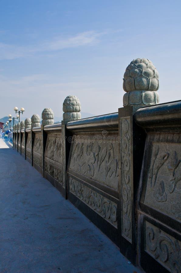 中国古老石栏杆的支 免版税库存图片