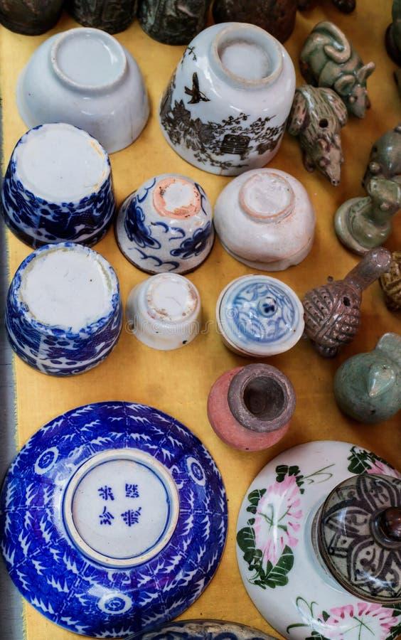 中国古色古香的瓷瓦器 图库摄影