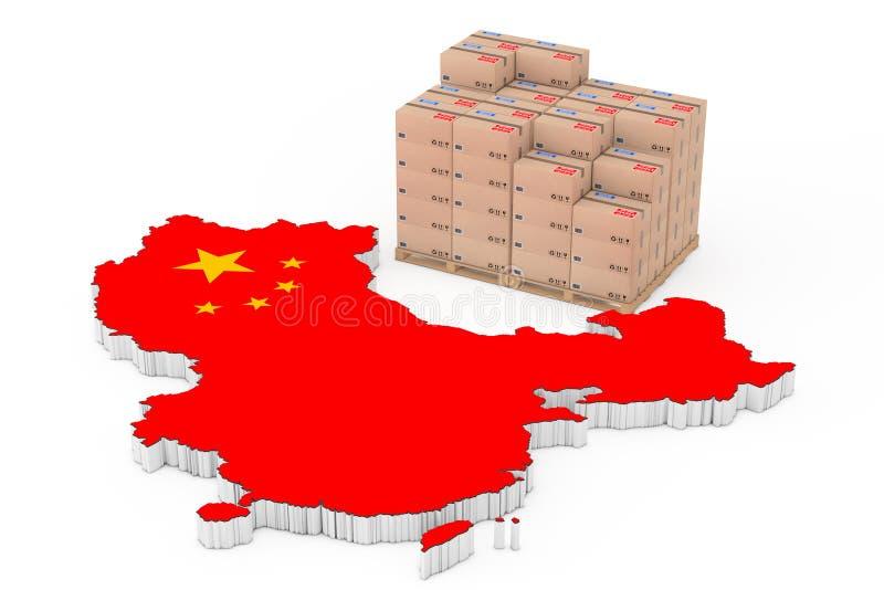 中国后勤学概念 在一木调色板nea的纸板箱 向量例证