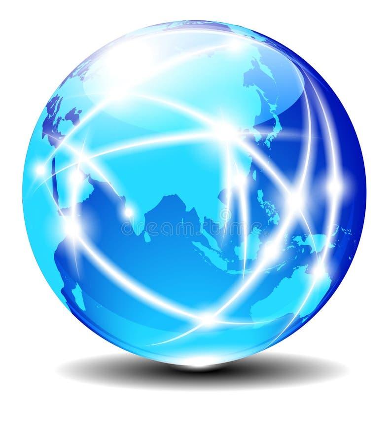 中国和亚洲,全球性通信行星数据 向量例证