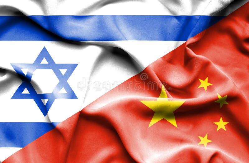 中国和以色列的挥动的旗子 库存例证