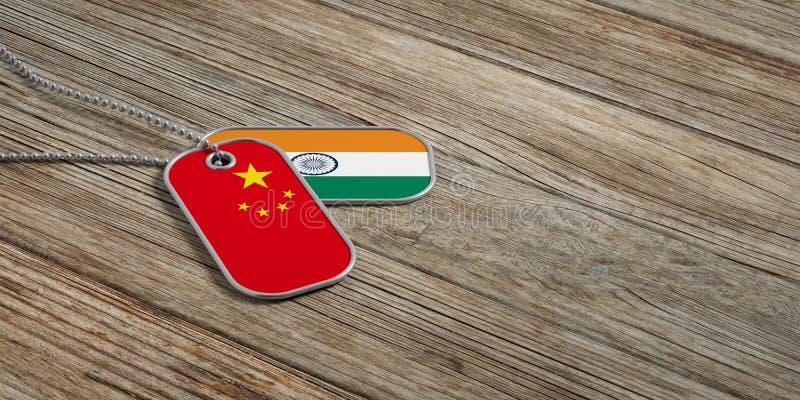 中国和印度军事联系,在木背景的识别标签 3d例证 库存例证