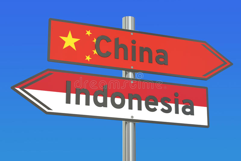 中国和印度尼西亚冲突概念, 3D翻译 向量例证