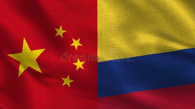 中国和哥伦比亚-一起两面半旗子 向量例证