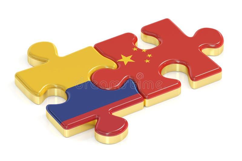 中国和哥伦比亚从旗子, 3D困惑翻译 向量例证