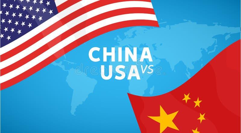 中国和美国贸易战概念 企业全球性交换关税国际性组织经济 汉语和美国旗子例证 库存例证