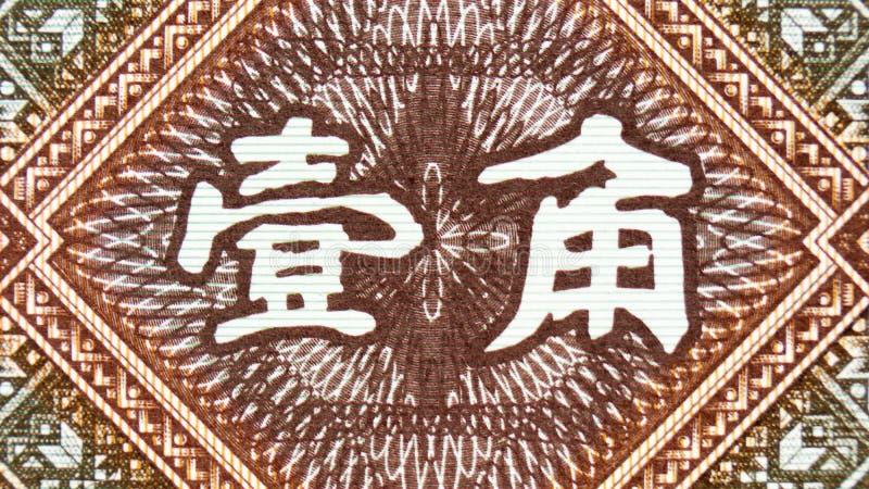 中国国币,面值中文文字符号的碎片 免版税库存图片