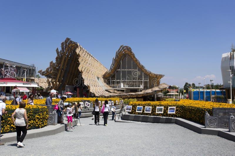 中国在商展,在的普遍博览会的亭子入口 免版税库存图片