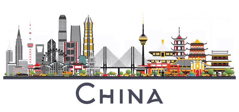 中国在白色背景隔绝的市地平线 著名地标 皇族释放例证