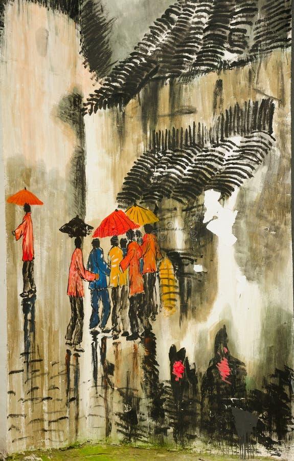 中国墙街道画 免版税图库摄影