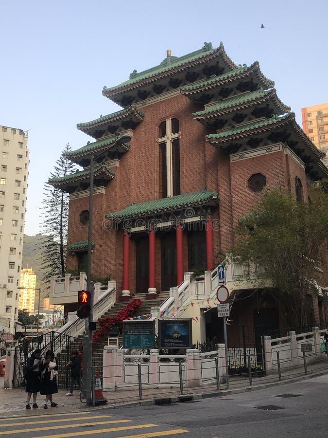 中国大厦样式的教会在香港 免版税库存图片