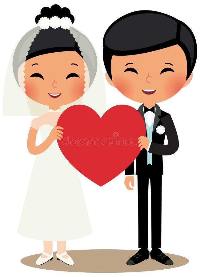 中国夫妇新娘和新郎 库存例证