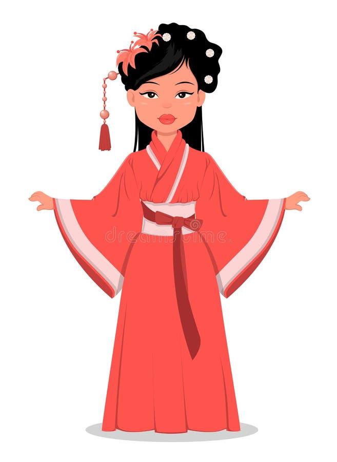 中国女孩字符在美丽的传统衣裳和与在她的头发的花 皇族释放例证