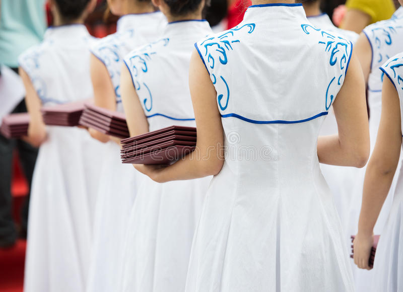 中国女服务员 免版税库存照片