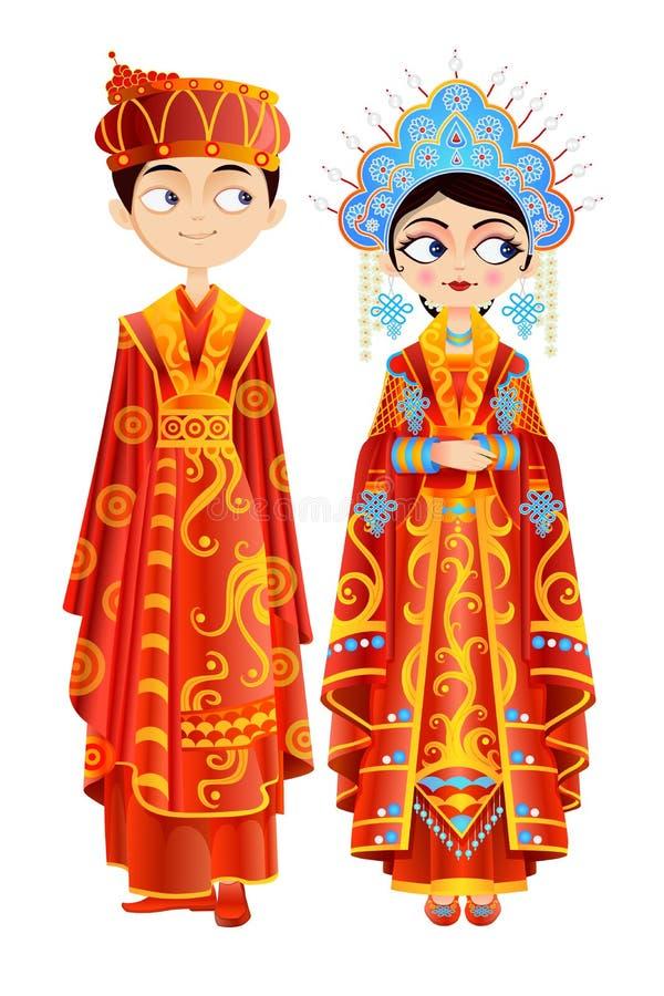 中国婚礼夫妇 向量例证