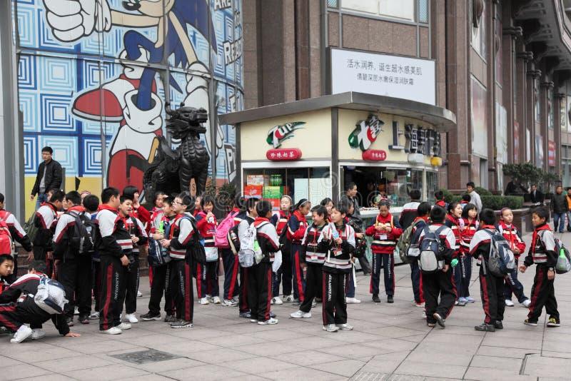 中国学生在上海 库存照片
