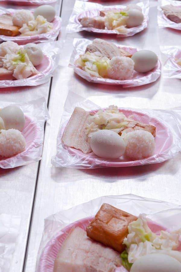 中国宗教信仰,礼仪奉献物,猪肉,菜,干豆,鸡蛋,米饭团, 图库摄影